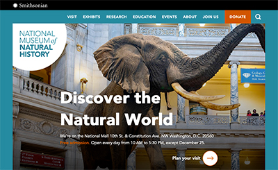 Home page of the NMNH website